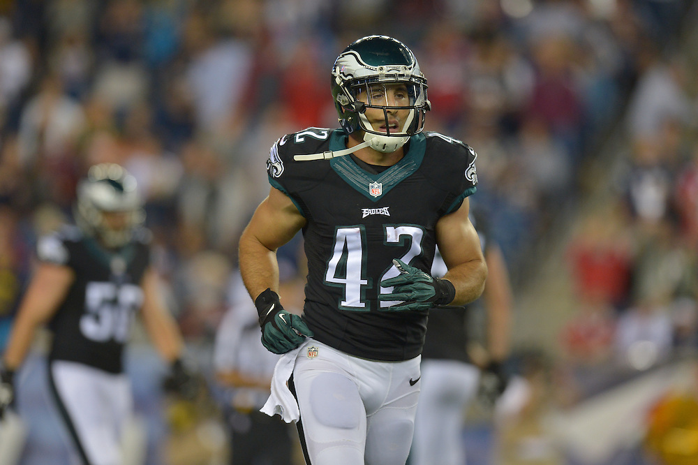 Chris Maragos #42 of the Philadelphia Eagles against the New England Patriots at Gillette Stadium on August 15, 2014 in Foxborough, Massachusetts. The Patriots won 42-35.  (Photo by Drew Hallowell/Philadelphia Eagles)