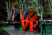 Robert Indiana's LOVE sculpture, at the I-Land Tower, Shinjuku