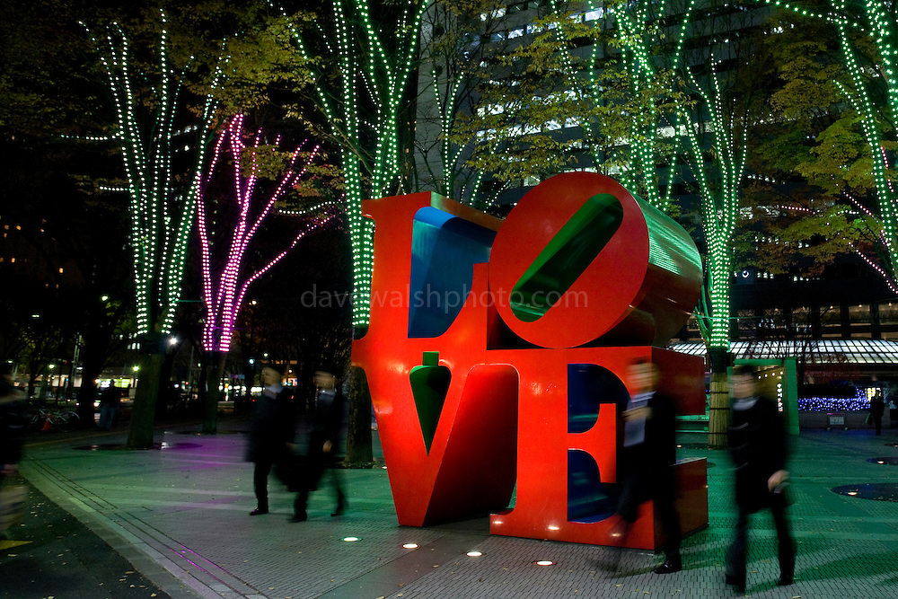 Robert Indiana's LOVE sculpture, at the I-Land Tower, Shinjuku