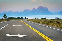 Directional road signs, Grand Teton National Park Wyoming