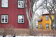 Traditional typical brightly painted corrugated metal house in the old town area of capital city of Reykjavik, Iceland