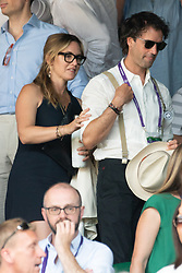 © Licensed to London News Pictures. 15/07/2018. London, UK. Actress Kate Winslet and husband Ned Rockwell watch the Wimbledon tennis men's singles finals championships 2018 held at the All England Lawn Tennis and Croquet Club. Photo credit: Ray Tang/LNP