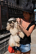 Woman wearing a famous original or remake of an 1980s Vivienne Westwood Buffalo hat carries her pet poodle dog along Piccadilly on 26th June 2020 in London, United Kingdom. Here she decides to put her sunglasses on her dogs face.