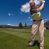 Chad Jones plays at Big Sky Golf Course in Big Sky, Montana.