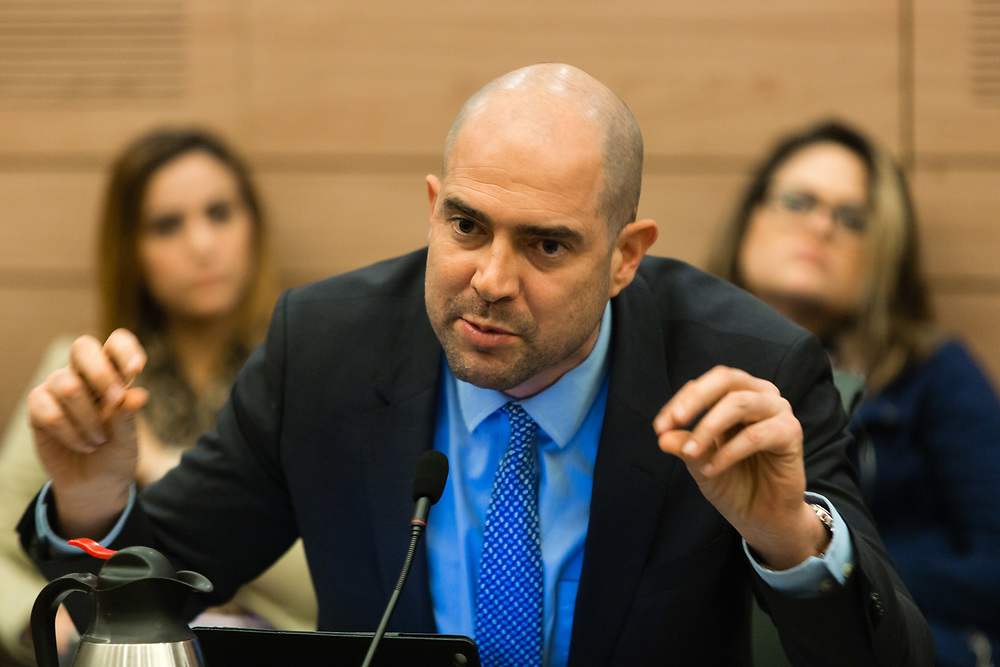 Israeli lawmaker, Member of the Knesset Amir Ohana at the Knesset, Israel's parliament in Jerusalem, on February 17, 2016.