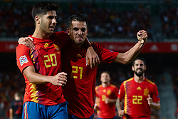 September 11, 2018 - Elche, Alicante, Spain - Dani Ceballos of Spain and Marco Asensio of Spain celebrates after scoring during the UEFA Nations League football match between Spain and Croatia at Martinez Valero Stadium in Elche on September 11, 2018  (Credit Image: © Sergio Lopez/NurPhoto/ZUMA Press)