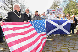 Protesters demonstrated outside the US Consulate in Edinburgh in support of the 'March for our Lives' movement in America, calling for gun control in the wake of recent high school shootings. Protesters were joined by relatives of victims of the Dunblane shooting.<br /> <br /> © Dave Johnston / EEm