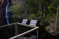 Two displays provide information about bats and saltwater crocodiles at Wangi Falls in Litchfield National Park, Australia