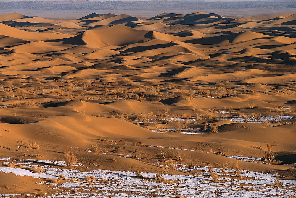 Sand dunes in winter, south Gobi Desert, Mongolia