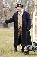 Newburgh, New York  - A Revolutionary War reenactor in uniform drills with a sword at Washington's Headquarters State Historic Site  as part of George Washington's birthday celebration on Feb. 18, 2012.