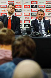 Bristol City Football Managing Director Jon Lansdown and Manager Derek McInnes (SCO) face questions from fans during the clubs Annual Supporters Meeting held in the AMC Communications Lounge - Photo mandatory by-line: Rogan Thomson/JMP - Tel: Mobile: 07966 386802 06/12/2012 - SPORT - FOOTBALL - Ashton Gate - Bristol - Club AGM.