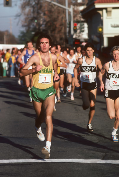 LOS ALTOS, CA - JANUARY 4:  Alberto Salazar #1 runs in the Runner's World Five Mile Invitational race on January 4, 1981 in Los Altos, California. (Photo by David Madison/Getty Images) *** Local Caption *** Alberto Salazar