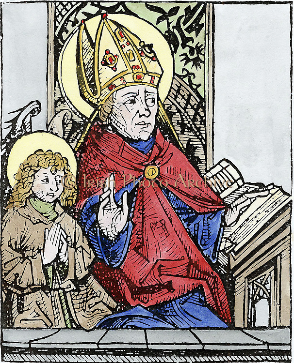 St Augustine of Hippo (350-430) one of the great fathers of early Christian church. Second figure is his son Ambrose. Hand-coloured woodcut of 1493