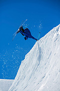 British freestyle skier Cal Sandieson during spring training on 05th May 2017 in Corvatsch, Switzerland. Piz Corvatsch is a mountain in the Bernina Range of the Alps, overlooking Lake Sils and Lake Silvaplana in the Engadin region of the canton of Graubünden.