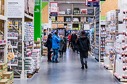 Empty shops in Poland during coronavirus pandemic. After the government and Prime Minister Mateusz Morawiecki introduced a restriction on gastronomy, entertainment and shopping malls because of the coronavirus epidemic, Poles went shopping in DIY stores, and Leroy Merlin stores in Gdansk at Grunwaldzka Street, Poland, on March 14, 2020. Photo by Fotomag/Newspix/ABACAPRESS.COM