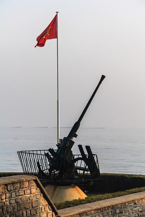 A 40 mm anti-aircraft gun in Arromanches, France.