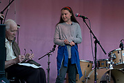 School climate protest founder Greta Thurnberg addresses the audience at the Marble Arch Extinction Rebellion camp. Several roads were blocked across four sites in central London, by the Extinction Rebellion climate change protests, April 2019.