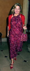 Art collector MRS CHARLES SAATCHI, at a party in London on 1st October 2000.OHM 38
