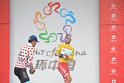 September 16, 2016 - Wuhan, China - (Left-Right) Maral-Erdene Batmunkh - Terengganu Cycling Team (Polka Dot Mountain Jersey) and Mattia De Marchi - Mattia De Marchi - Androni Giocattoli (Yellow Leader Jersey), celebrate with a Champagne during the final Award Ceremony of the 2016 Tour of China 1..On Friday, 16 September 2016, in Xinzhou, Wuhan , China. (Credit Image: © Artur Widak/NurPhoto via ZUMA Press)