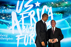 NEW YORK, NEW YORK - SEPTEMBER 21: U.S. President Barack Obama talks with former New York City mayor Michael Bloomberg before speaking at the U.S.-Africa Business Forum at the Plaza Hotel, September 21, 2016 in New York City. The forum is focused on trade and investment opportunities on the African continent for African heads of government and American business leaders. Photo by Drew Angerer/Pool/ABACAPRESS.COM