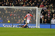 Stoke city's Steven Nzonzi scores his sides 2nd goal. Barclays Premier league, Stoke city v Sunderland at the Britannia stadium in Stoke on Trent, England on Saturday 23rd Nov 2013. pic by Andrew Orchard, Andrew Orchard sports photography,