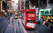 01 DECEMBER 1988 - HONG KONG: double decker bus in traffic in Hong Kong.   PHOTO © JACK KURTZ  traffic tourism  economy