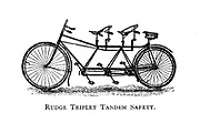 Rudge Triplet [three riders] Tandem Safety bicycle From Wheels and Wheeling; An indispensable handbook for cyclists, with over two hundred illustrations by Porter, Luther Henry. Published in Boston in 1892