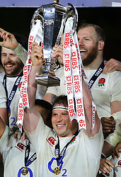 Dylan Hartley of England with the RBS 6 Nations Trophy - Mandatory by-line: Ken Sutton/JMP - 18/03/2017 - RUGBY - Aviva Stadium - Dublin,  - Ireland v England - RBS 6 Nations