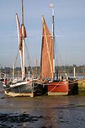 Sailing barge boats, Pin Mill, Suffolk, England