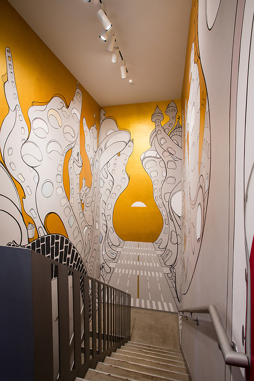 Drawings decorate the starwell at the Drawing Center.