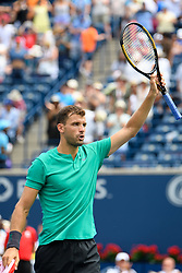 August 9, 2018 - Toronto, ON, U.S. - TORONTO, ON - AUGUST 09: Grigor Dimitrov (BUL) reacts after winning his third round match of the Rogers Cup tennis tournament on August 9, 2018, at Aviva Centre in Toronto, ON, Canada. (Photograph by Julian Avram/Icon Sportswire) (Credit Image: © Julian Avram/Icon SMI via ZUMA Press)