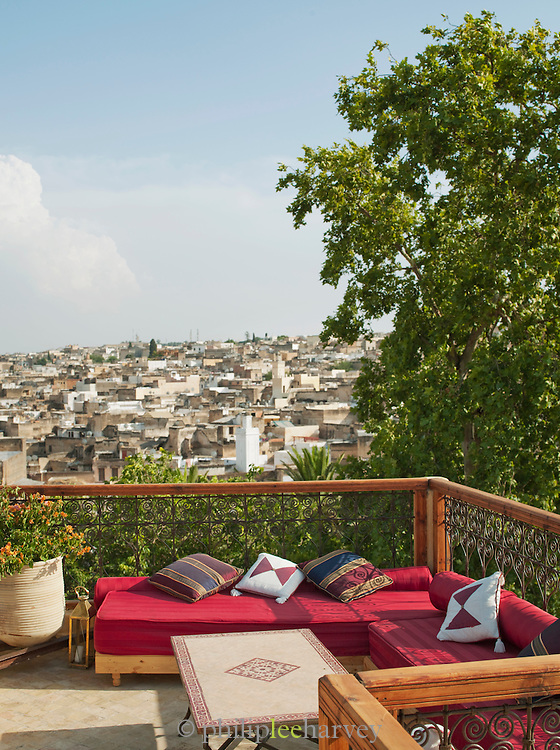 A view of the medina from a rooftop terrace of a hotel, Fes, Morocco