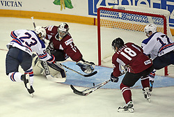 Dustin Brown (23) scored against Goalkeeper Edgars Masalskis at ice-hockey match USA vs Latvia at IIHF WC 2008 in Halifax,  on May 02, 2008 in Metro Center, Halifax, Canada.  (Photo by Vid Ponikvar / Sportal Images)