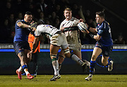 Sale Sharks wing Denny Solomona feeds the ball to Sale Sharks centre Sam James who went on to score his second try during a Gallagher Premiership Rugby Union match won by Sharks 39-0, Friday, Mar. 6, 2020, in Eccles, United Kingdom. (Steve Flynn/Image of Sport)