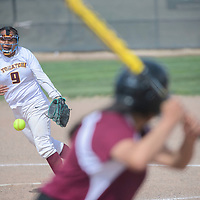 Tohatchi Cougar Sheonna Davis (9) pitches to a Rehoboth Lynx at Tohatchi High School Tuesday.