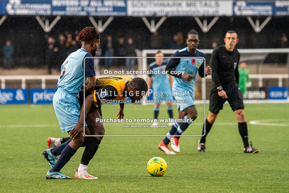 BROMLEY, UK - NOVEMBER 09: Ben Mundelle, of Cray Wanderers FC, gets infant of his marker during the BetVictor Isthmian Premier League match between Cray Wanderers and Cheshunt at Hayes Lane on November 9, 2019 in Bromley, UK. <br /> (Photo: Jon Hilliger)