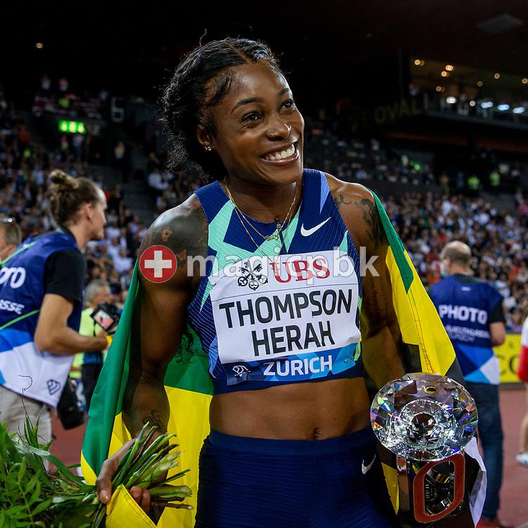 Elaine Thompson-Herah of Jamaica reacts after winning in the women's 100m during the Iaaf Diamond League meeting (Weltklasse Zuerich) at the Letzigrund Stadium in Zurich, Switzerland, Thursday, Sept. 9, 2021. (Photo by Patrick B. Kraemer / MAGICPBK)