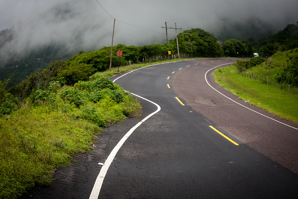 a strange and dangerous bend in the road in Honduras