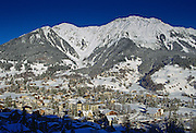 Luxury ski  resort Klosters nestling at the foot of the Swiss Alps Switzerland.