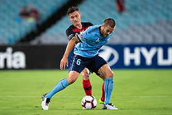 December 15, 2018 - Sydney, NSW, U.S. - SYDNEY, NSW - DECEMBER 15: Western Sydney Wanderers midfielder Jordan O'Doherty (8) and Sydney FC midfielder Joshua Brillante (6) battle for the ball at the Hyundai A-League Round 8 soccer match between Western Sydney Wanderers FC and Sydney FC at ANZ Stadium in NSW, Australia on December 15, 2018. (Photo by Speed Media/Icon Sportswire) (Credit Image: © Speed Media/Icon SMI via ZUMA Press)