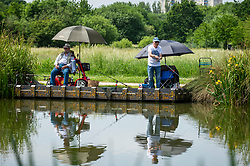 © Licensed to London News Pictures. 15/06/2021. LONDON, UK. Anglers fishing in one of the ponds at Northala Fields in west London where the temperature is expected to rise to 25C with a forecast warmer 29C tomorrow.  Photo credit: Stephen Chung/LNP