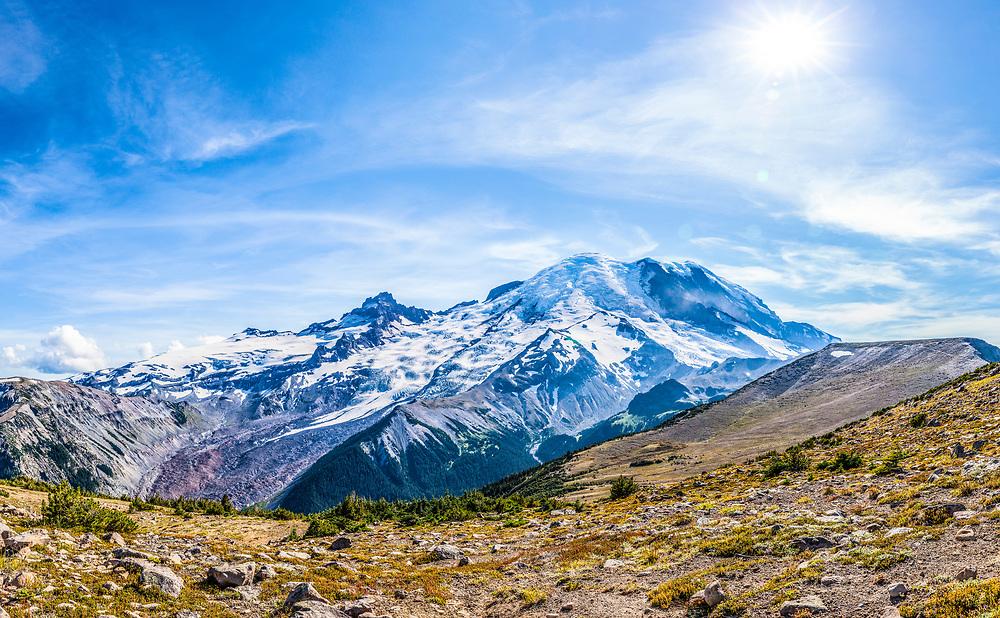A view from 1st Burroughs Mountain trail looking towards Rainier and 2nd Burroughs Mountains, Mount Rainier National Park, Washington, USA.