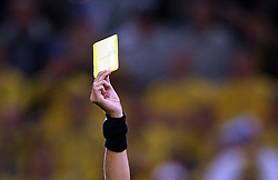 Yellow card during the UEFA EURO 2008 Group D soccer match between Sweden and Russia at Stadion Tivoli NEU, on June 18,2008, in Innsbruck, Austria. Russia won 2:0. (Photo by Vid Ponikvar / Sportal Images)