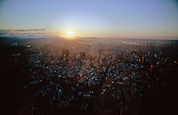 View from Taipei 101 formerly the tallest building in the world and the tallest building in Taiwan. The evening sun sets over the Taipei metropolis.