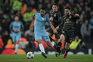 Gaël Clichy (Manchester City) is chased by Patrick Roberts (Celtic) during the Champions League match between Manchester City and Celtic at the Etihad Stadium, Manchester, England on 6 December 2016. Photo by Mark P Doherty.