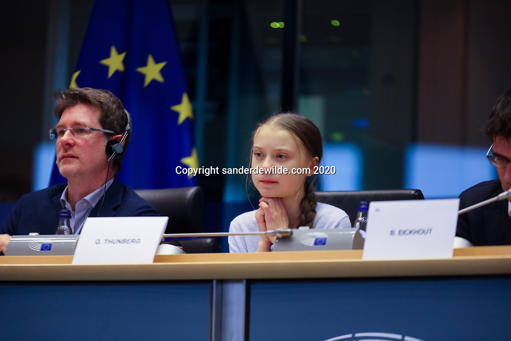 Brussels, Belgium 4 March 2020 Climate Activist Greta Thunberg visits the European Parliament in Brussels for a meeting with the president and the parlementarians.