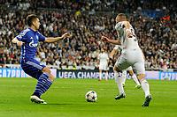Real Madrid´s Karim Benzema and FC Shalke 04´s Matija Nastasic during 2014-15 Champions League match between Real Madrid and FC Shalke 04 at Santiago Bernabeu stadium in Madrid, Spain. March 10, 2015. (ALTERPHOTOS/Luis Fernandez)
