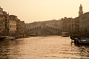 Sepia Photo of the Grand Canal with the Rialto Bridge, Venice, Italy