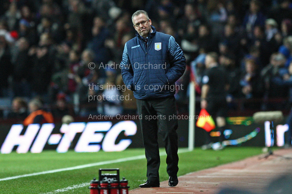 Aston Villa manager Paul Lambert looks rueful after a missed opportunity. Barclays Premier league match, Aston Villa v Manchester Utd at Villa Park in Birmingham on Saturday 20th December 2014<br /> pic by Mark Hawkins, Andrew Orchard sports photography.