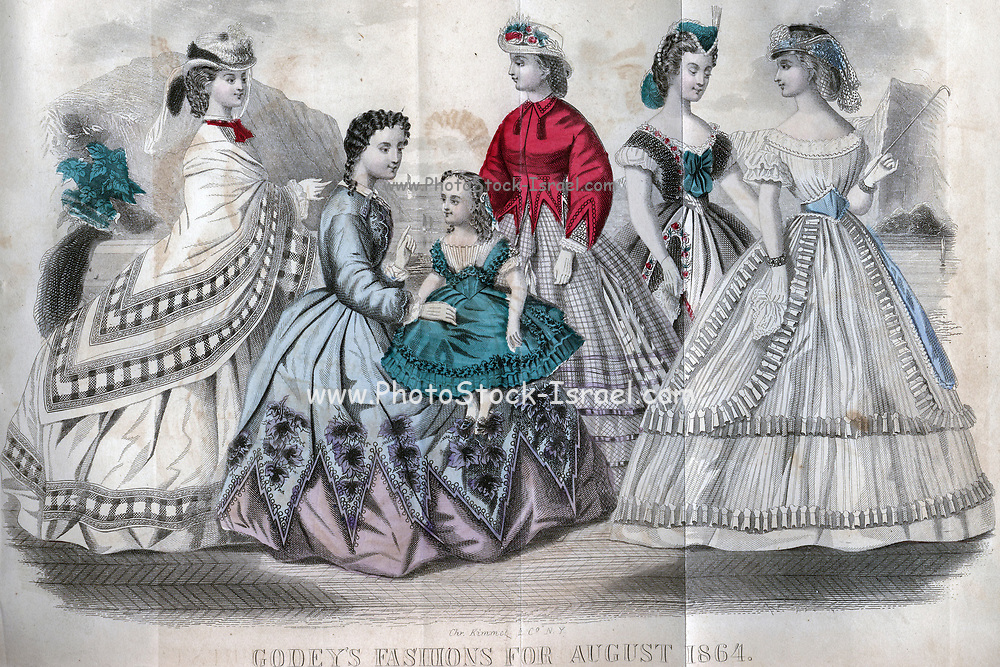 Godey's Fashion for August 1864 from Godey's Lady's Book and Magazine, August, 1864, Volume LXIX, (Volume 69), Philadelphia, Louis A. Godey, Sarah Josepha Hale,